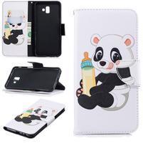 Patt PU kožené pouzdro na mobil Samsung Galaxy J6+ - panda s lahví
