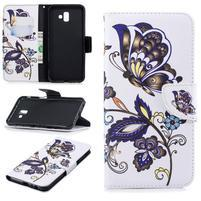 Patt PU kožené pouzdro na mobil Samsung Galaxy J6+ - motýli a květy