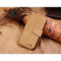 Peněženkové pouzdro z pravé kůže na Samsung Galaxy S4 - khaki
