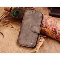Peněženkové pouzdro z pravé kůže na Samsung Galaxy S4 - hnědá I
