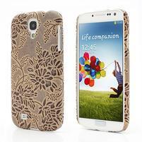 Květinové pouzdro na Samsung Galaxy S4 - hnedé