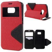 Diary pouzdro s okýnkem na Samsung Galaxy S7 - červené
