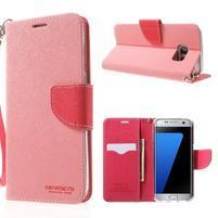 Mercury Orig PU kožené pouzdro na Samsung Galaxy S7 Edge - růžové