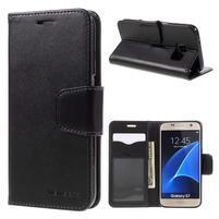 Rich PU kožené peněženkové pouzdro na Samsung Galaxy S7 - černé