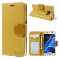 Rich PU kožené peněženkové pouzdro na Samsung Galaxy S7 - žluté