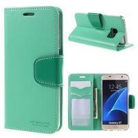 Rich PU kožené peněženkové pouzdro na Samsung Galaxy S7 - azurové