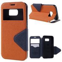 Diary pouzdro s okýnkem na Samsung Galaxy S7 - oranžové