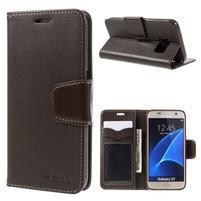 Rich PU kožené peněženkové pouzdro na Samsung Galaxy S7 - coffee