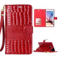 Croco styl peněženkové pouzdro na Samsung Galaxy S7 - červené
