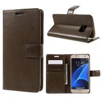 Moon PU kožené pouzdro na mobil Samsung Galaxy S7 - coffee