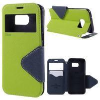Diary pouzdro s okýnkem na Samsung Galaxy S7 - zelené