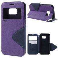 Diary pouzdro s okýnkem na Samsung Galaxy S7 - fialové