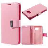 Luxury PU kožené pouzdro na Samsung Galaxy S7 - růžové