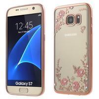 Nice gelový obal s kamínky na Samsung Galaxy S7 - růžové květiny