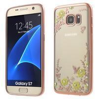 Nice gelový obal s kamínky na Samsung Galaxy S7 - žluté květiny