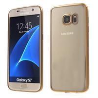 Gelový obal se zlatým rámečkem na Samsung Galaxy S7