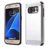 Dvoudílný odolný kryt na Samsung Galaxy S7 - stříbrný