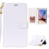Croco styl peněženkové pouzdro na Samsung Galaxy S7 - bílé