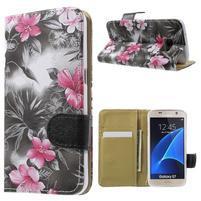 Flower pouzdro na mobil Samsung Galaxy S7 - černé pozadí