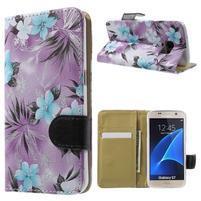 Flower pouzdro na mobil Samsung Galaxy S7 - fialové pozadí