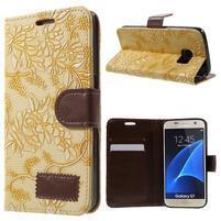 Květinové pěněženkové pouzdro na Samsung Galaxy S7 - žluté