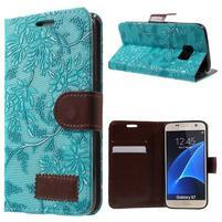 Květinové pěněženkové pouzdro na Samsung Galaxy S7 - modré