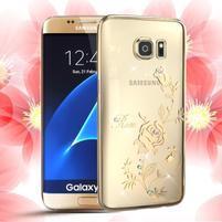 Swarovski plastový obal s kamínky na Samsung Galaxy S7 - růže