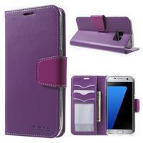 Rich PU kožené pouzdro na Samsung Galaxy S7 edge - fialové
