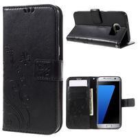Butterfly PU kožené pouzdro na Samsung Galaxy S7 edge - černé