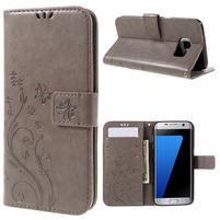 Butterfly PU kožené pouzdro na Samsung Galaxy S7 edge - šedé