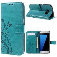 Butterfly PU kožené pouzdro na Samsung Galaxy S7 edge - modré