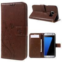 Butterfly PU kožené pouzdro na Samsung Galaxy S7 edge - hnědé