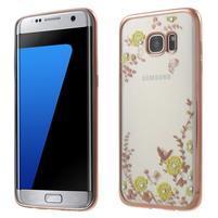 Nice gelový obal s kamínky na Samsung Galaxy S7 edge - žluté květiny
