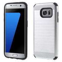 Odolný dvoudílný obal na Samsung Galaxy S7 edge - stříbrný