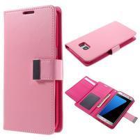 Luxusní PU kožené pouzdro na Samsung Galaxy S7 Edge - růžové