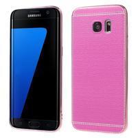 Luxy gelový obal s PU koženými zády na Samsung Galaxy S7 Edge - rose