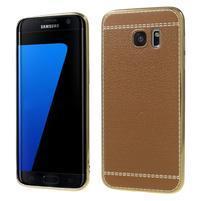 Luxy gelový obal s PU koženými zády na Samsung Galaxy S7 Edge - hnědý