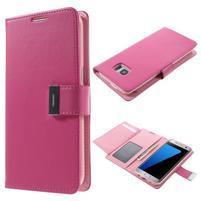 Luxusní PU kožené pouzdro na Samsung Galaxy S7 Edge - rose