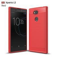Fibe odolný gelový obal s broušením na Sony Xperia L2 - červený