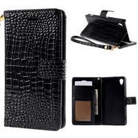 Černé PU kožené pouzdro aligátor pro Sony Xperia M4 Aqua