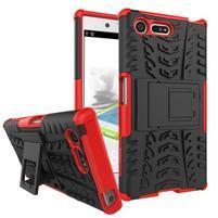 Outdoor odolný obal se stojánkem na Sony Xperia X Compact - červený
