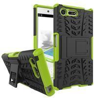 Outdoor odolný obal se stojánkem na Sony Xperia X Compact - zelený