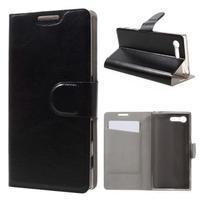 Leathy PU kožené pouzdro na Sony Xperia X Compact - černé