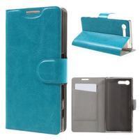 Leathy PU kožené pouzdro na Sony Xperia X Compact - modré