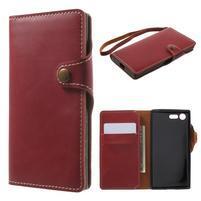 Luxusní peněženkové PU kožené pouzdro na Sony Xperia X Compact - červené