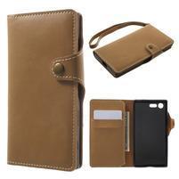Luxusní peněženkové PU kožené pouzdro na Sony Xperia X Compact - světlehnědé