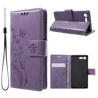 Butterfly PU kožené pouzdro na Sony Xperia X Compact - fialové