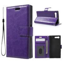 Horse PU kožené pouzdro na mobil Sony Xperia X Compact - fialové