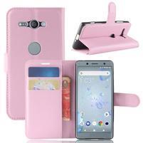 Litchi PU kožené zapínací pouzdro na Sony Xperia XZ2 Compact - růžové