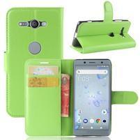Litchi PU kožené zapínací pouzdro na Sony Xperia XZ2 Compact - zelené